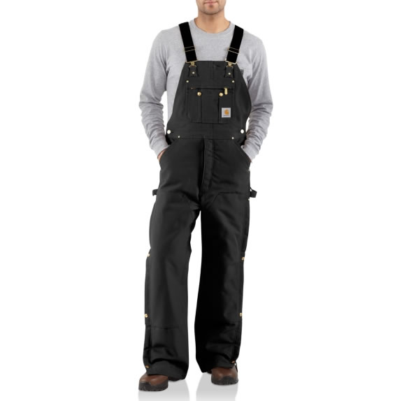 Duck Zip-to-Thigh Bib Overall Quilt Lined by Carhartt Dark Black