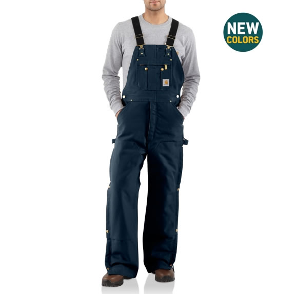 Duck Zip-to-Thigh Bib Overall Quilt Lined by Carhartt Dark Navy