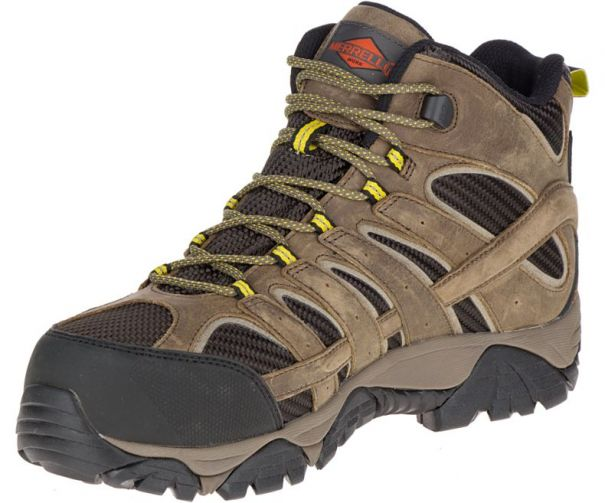 Mens Moab 2 Vent Mid Waterproof Comp Toe Work Shoe by Merrell Work Side